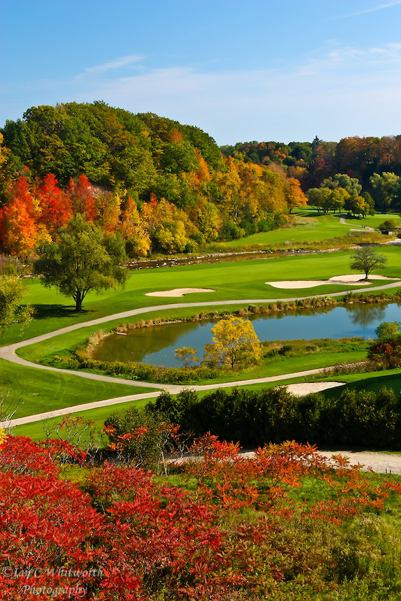 Fall colors look like this at Glen Abbey Golf Club in Oakville, Ontario, Canada; Michigan, Indiana, New York, Vermont and even Scottish Highlands golf courses. But in other areas of the world, time for fall means time for colorant.