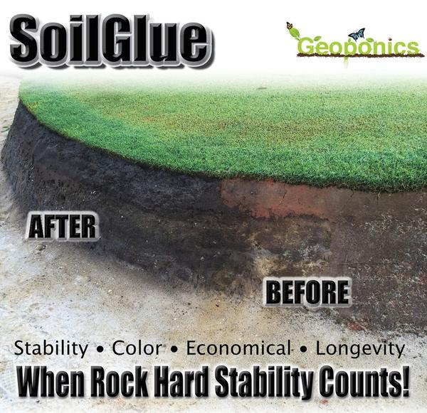 SoilGlue Stabilizer and colorant for sand bunkers, soil stabilizer