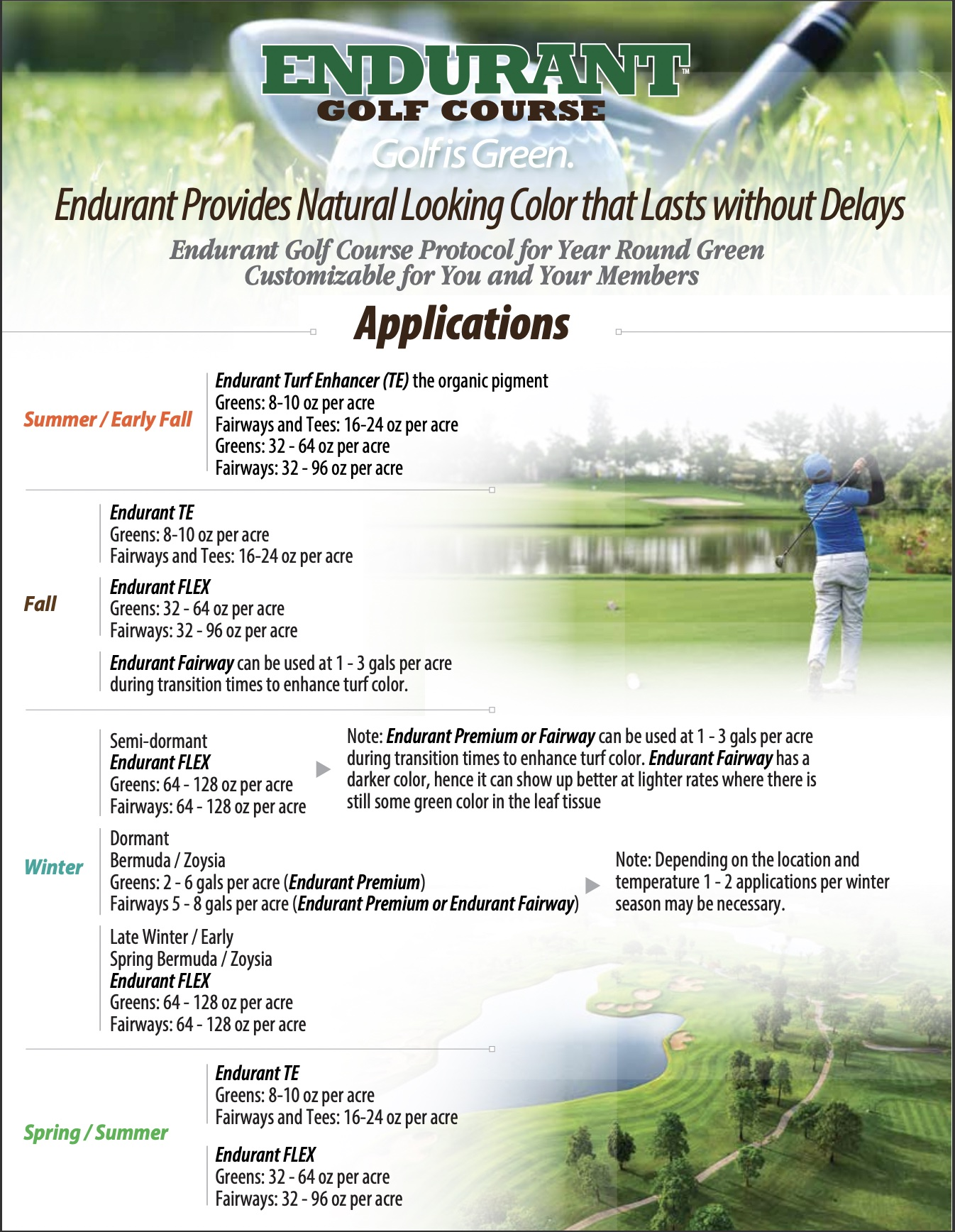 Golf Is Green All Year Long with Endurant turf colorants Year Round Golf Course Protocol
