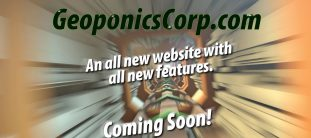 A graphic of electronic wires and tubes with text about GeoponicsCorp.com launching a new version of the website with new features coming soon